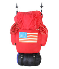 Expedition bag with american flag.