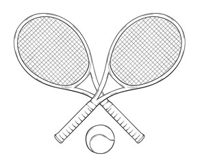 two tenis rackets and ball