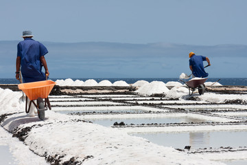 Workers at salt extraction La Palma, Canary Islands