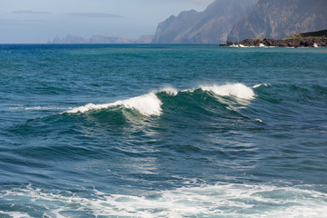 Breaking waves at coast of Madeira Island