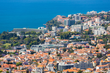 Aerial view of Funchal with many hotels; Madeira Island