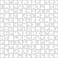 Puzzle template 169 pieces vector, 13x13