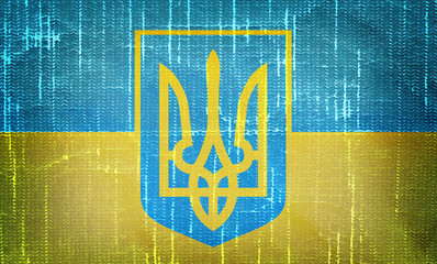 Ukrainian flag with trident on grunge  backround
