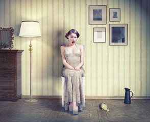 woman in the vintage interior