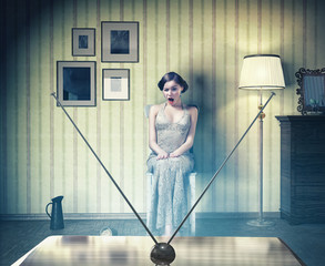 girl in the vintage interior,watching tv