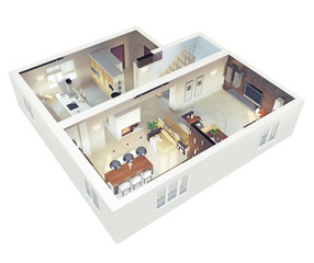 Plan view of an apartmen. 3d concept