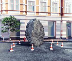 meteorite l on a city street