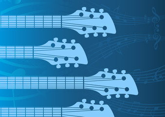 music, vector blue background with Guitar headstocks