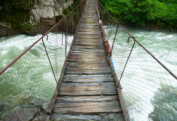 Suspension walking bridge