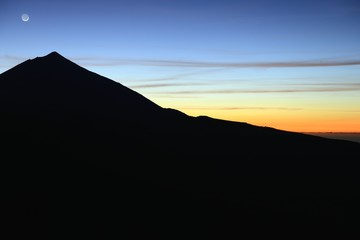 Teide, Tenerife. Silhouette of Teide at sunset.