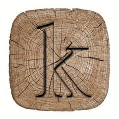 Wooden alphabet block, letter k