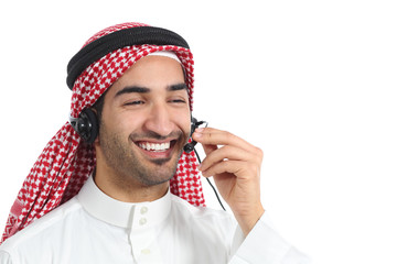 Happy arab saudi emirates telephone operator attending