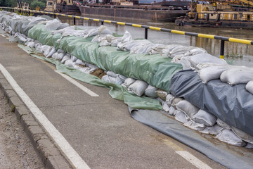 Wall of sandbags for flood defense