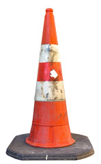 Dirty traffic cone isolated on white