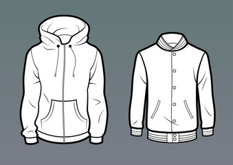 Template Hoodie and baseball jacket