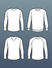 Set of 4 long sleeve t shirt templates
