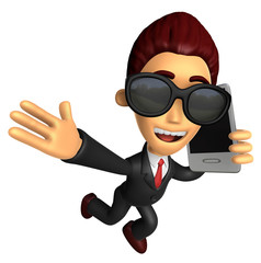 Wear sunglasses 3D Business man Mascot talk over telephone. Work
