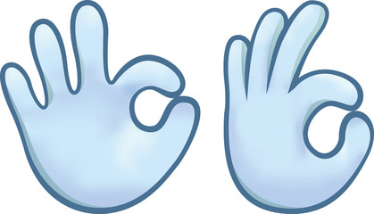Front and side view of a blue hand making the OK sign