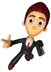 3D Business man character on powerfully Running. Work and Job Ch