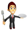 3D Business man Mascot the hand is holding a fork and plate. Wor