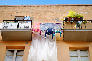 Clothes on the line along balkonies