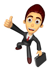 3D Business man Mascot the left hand best gesture and right hand