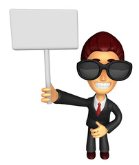 Wear sunglasses 3D Business man Mascot hand is holding a Big adv