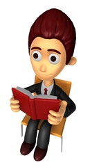 3D Business man Mascot read at random. Work and Job Character De