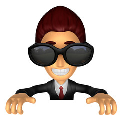 Wear sunglasses 3D Business man Mascot holding a big board with