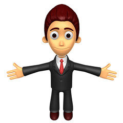3D Business man mascot has been welcomed with both hands. Work a