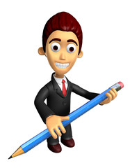 3D Business man mascot holding a big board with both Pencil. Wor