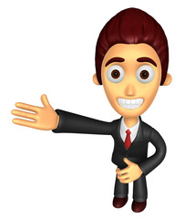 3D Business man mascot Suggests the direction. Work and Job Char