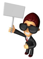 Wear sunglasses 3D Business man Mascot hand is holding a Big adv