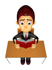 3D Business man Mascot read in one´s leisure hours. Work and Jo