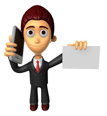 3D Business man Mascot the hand is holding a Smart Phone and bus