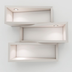 3d white shelfs with lights