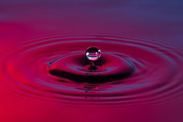 Water drop close up with concentric ripples colourful blue and r
