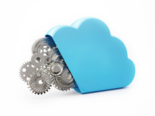 Cloud Computing with Metal Gears on White Background