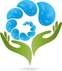 Logo, Hand, Tropfen, Wasser