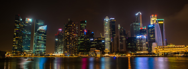 Nightscape of Singapore downtown at Marina bay