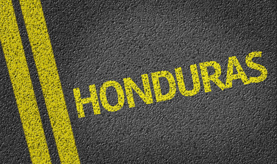 Honduras written on the road