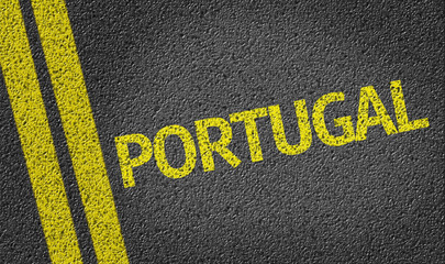 Portugal written on the road
