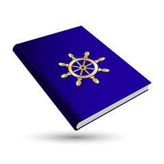 blue navigate book with gold business 3d icon rudder