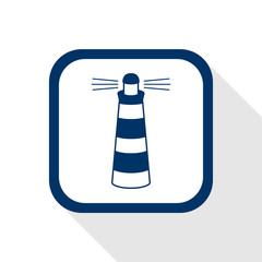 square blue icon lighthouse with long shadow