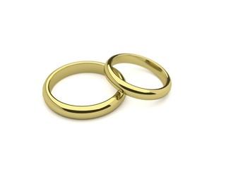 Wedding rings on white