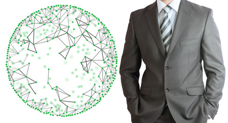 Businessman in a suit with wire frame sphere