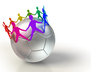 soccer ball with colorful people team chain