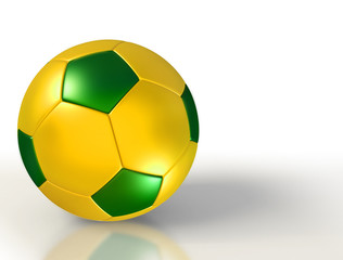 brazil colours on soccer ball on white background