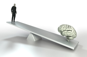 human brain and man balance