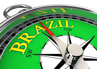 brazil compass in green and yellow